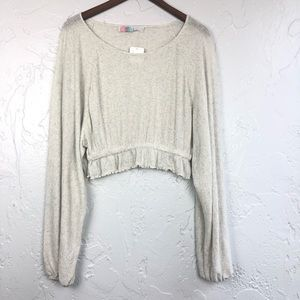 Free People Beach Long Sleeve Cropped Top M NWT